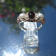 Sterling/9kt Pink Gold Red Garnet/Freshwater Pearl Ladies Ring