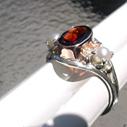 Sterling/9kt Pink Gold Opulent Garnet/Freshwater Pearl Ladies Ring