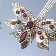 Sterling/9kt Garnet/Seed Pearl Butterfly Brooch/Pendant with Chain