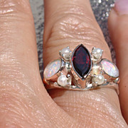 Sterling/9kt Pink Gold Vivacious Trio Garnet/Opal/Seed Pearl Ladies Ring