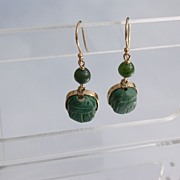 14kt Jade/Scarab Beetle Dangle Earrings