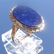 9kt Pink Gold Oval Lapis Lazuli Ladies Ring