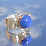 Sterling/9kt True Blue Lapis Lazuli Unisex Ring