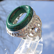 Sterling Oval Malachite Unisex Statement Ring