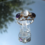 Sterling/9kt Yellow Gold Moonstone/Amethyst Ladies Ring
