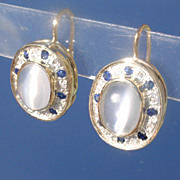 14kt/Sterling Moonstone/Sapphire/Diamond Earring