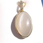 14kt Yellow Gold Large Oval Smokey Grey Moonstone Pendant