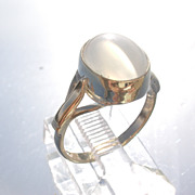 9kt Milky Grey Moonstone Ladies Ring