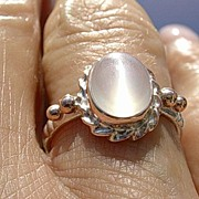 Silver/9kt Pink Gold Grey Moonstone Ladies Ring