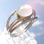 Sterling/9kt  Gold Vivacious Grey Moonstone Ladies Ring