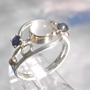 Sterling/9kt Grey Moonstone/Sapphire Ladies Ring