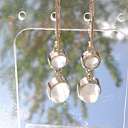 14kt Sultry Grey Moonstone Dangle Earrings