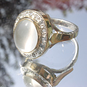 Sterling/10kt: Grey Moonstone/Multi Diamond Ladies Ring