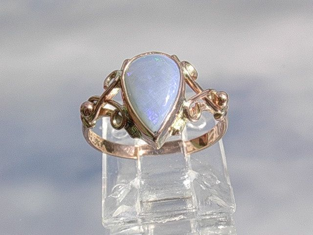 9kt Pink Gold Pear Shape Blue/Purple Opal  Ladies Ring