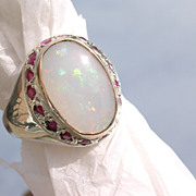 Sterling/9kt Large Opal/Multi Ruby Ladies Ring