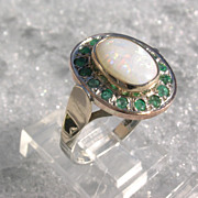 Sterling/9kt Yellow and Pink Gold Fiery Opal and Multi Emerald Ladies Ring