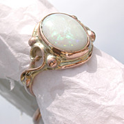 9kt Pink Gold Flashing Green Opal Ladies Ring