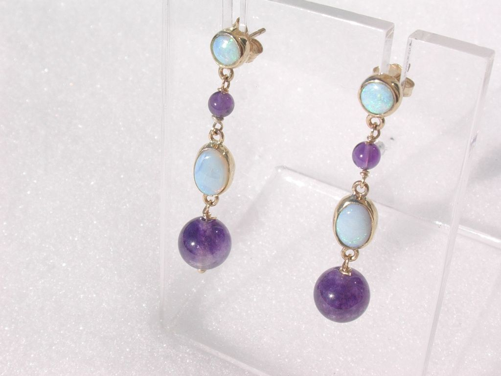 14kt Multi Opal/Amethyst Dangle Earring