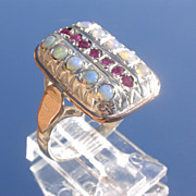 Sterling/9kt Multi Opal/Ruby Rectangular Ladies Ring