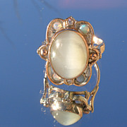 Sterling/9kt Grey Tiger-Eye/Opal/ Diamond Ladies Ring