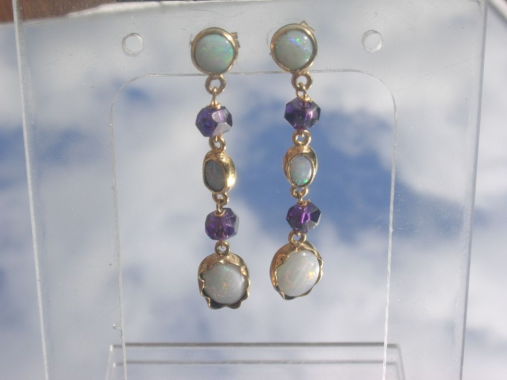 14kt: Dangling Fiery Multi Opal and Amethyst Earrings