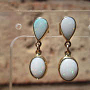 14kt Pear and Oval Shape Opal Dangle Earring