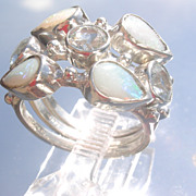 Sterling  Aquamarine and Opal Triple Stacking Rings