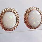 9kt Pink Gold Fiery Opal Stud Earrings