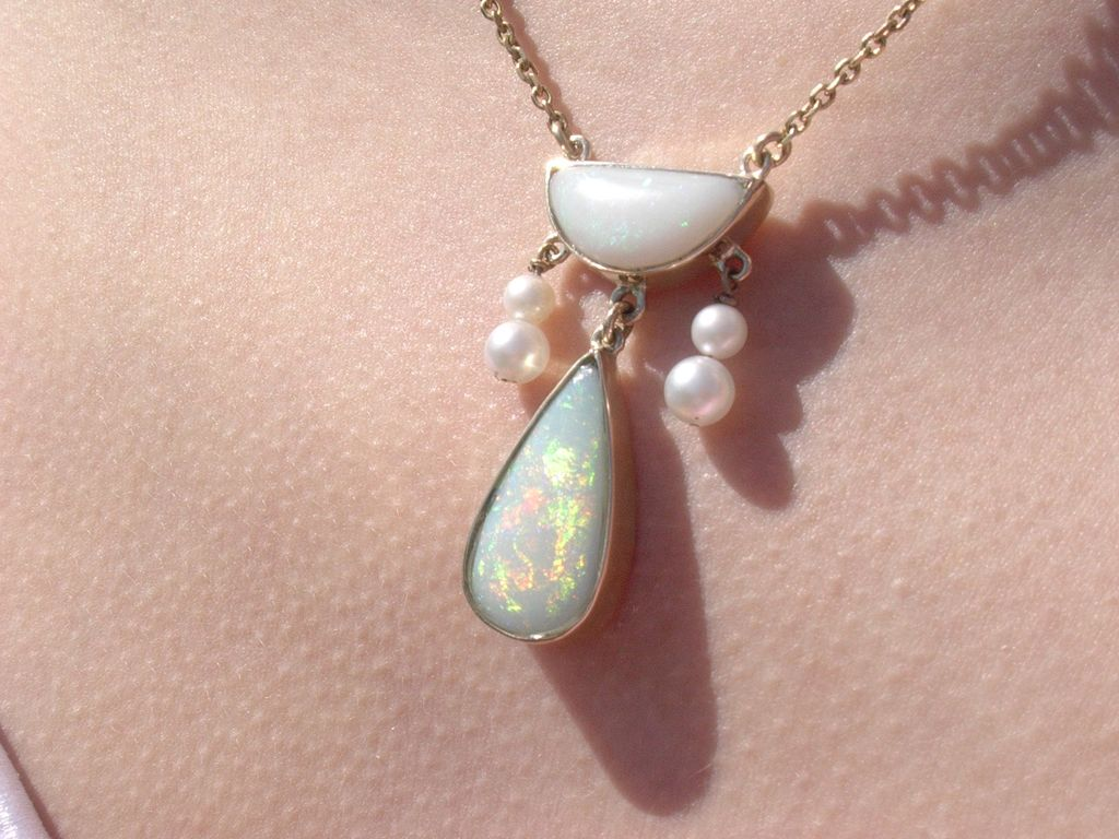 14kt Luxurious Freshwater Pearl/Multi Opal Necklace