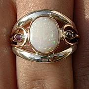 Silver/9kt Opal/Multi Ruby Ladies Ring
