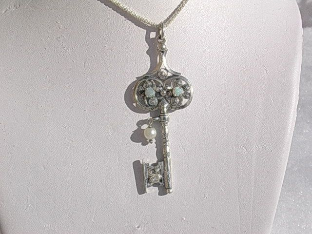 Sterling  Opal/ Pearl Key Pendant with Chain
