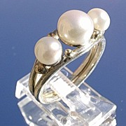 Sterling/9kt Gold Triple Freshwater Pearl  Ladies Ring