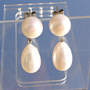 14kt White Gold Freshwater Pearl Dangle Earrings