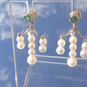 14kt Emerald/Cascading Freshwater Pearl Dangle Earrings