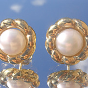 Sterling/Vermeil Finish Freshwater Pearl Stud Earrings