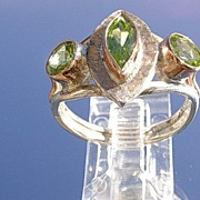 Sterling /9kt  Rose Gold Multi Peridot  Ladies Ring