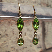 14kt Marquise/Oval Cut Vibrant Peridot Dangle Earrings