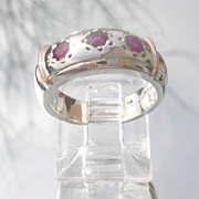 Sterling/9kt Pink Gold Triple Unisex Ruby Band