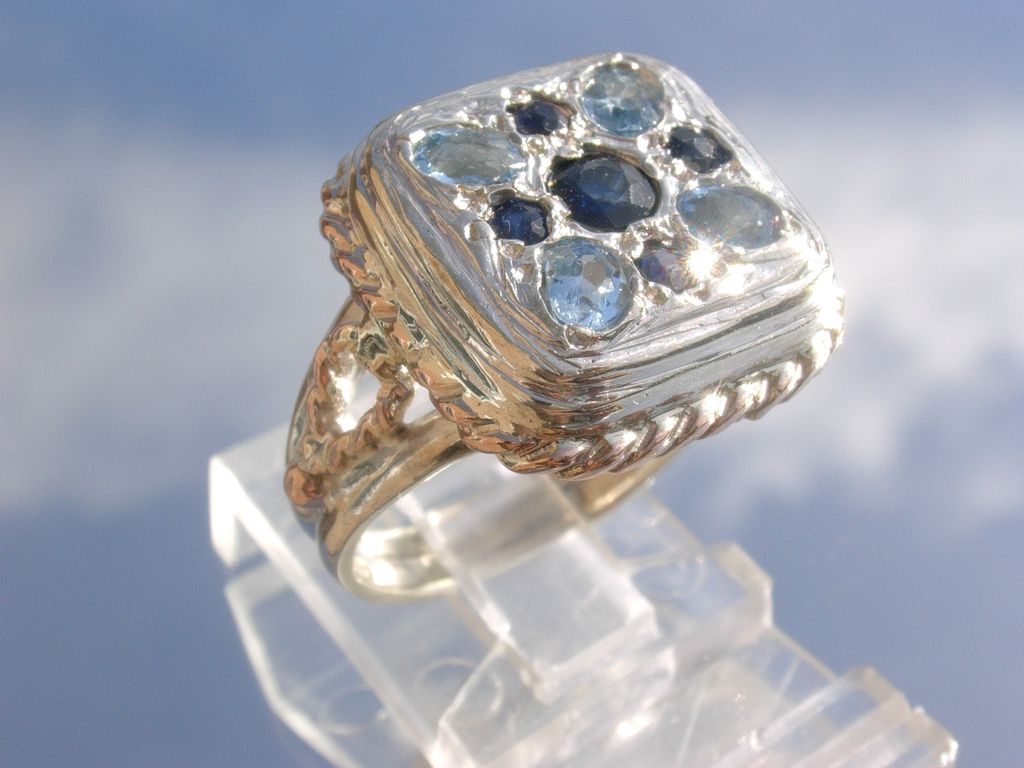 Sterling/9kt Pink Gold Multi Sapphire/Aquamarine Unisex Ring
