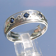 Sterling Multi Sapphire & Diamond Unisex Band