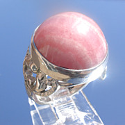 Sterling Round Rhodonite Ladies Ring