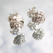 Sterling Rose Bud Stud Earrings