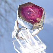 Sterling Watermelon Tourmaline Ladies Ring