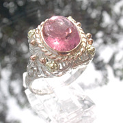 Sterling/9kt Vivacious Pink Tourmaline Lacey Ladies Ring