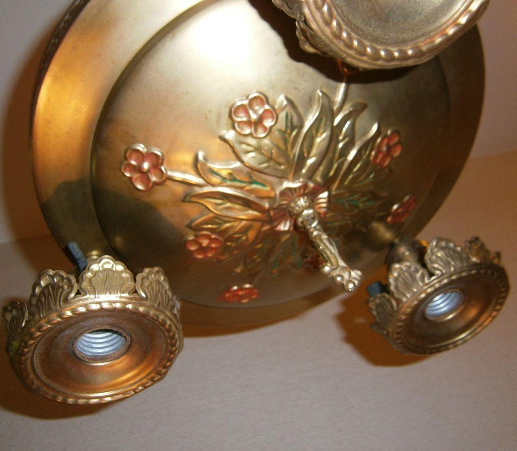 vintage brass 3 light bare bulb chandelier ceiling fixture. Black Bedroom Furniture Sets. Home Design Ideas