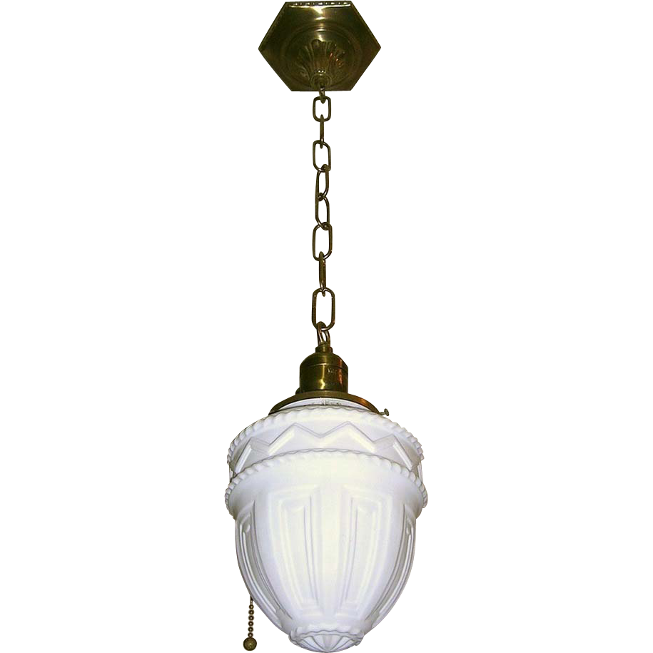 vintage milk glass brass pull chain pendant from loftylighting on ruby. Black Bedroom Furniture Sets. Home Design Ideas