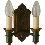 Vintage Tudor 2-Candle Bronze Plated  Wall Sconces by  Radiant