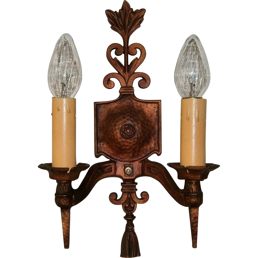 Three pairs large arts crafts sconces wall light for Arts and crafts candle sconces