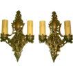 Vintage Pair Bronze Finished Brass Double- Candle Sconces