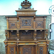 SALE Incredible French Carved Walnut Buffet circa 1880